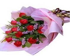 11 adet kirmizi güllerden görsel buket  İsparta çiçek gönderme sitemiz güvenlidir