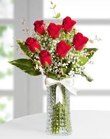 Cam vazoda 7 adet kırmızı gül  İsparta çiçek , çiçekçi , çiçekçilik