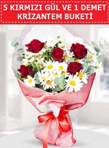 5 adet kırmızı gül ve krizantem buketi  İsparta çiçek satışı