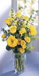 İsparta online çiçek gönderme sipariş  sari güller ve gerbera cam yada mika vazo