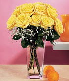 İsparta internetten çiçek satışı  9 adet sari güllerden cam yada mika vazo