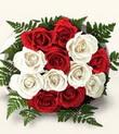 İsparta çiçek , çiçekçi , çiçekçilik  10 adet kirmizi beyaz güller - anneler günü için ideal seçimdir -