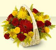 İsparta 14 şubat sevgililer günü çiçek  sepette mevsim çiçekleri