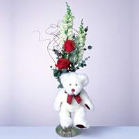 2 adet gül ve panda özel  İsparta çiçekçi mağazası