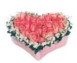 kalp içerisinde 9 adet pembe gül  İsparta çiçek satışı
