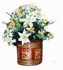 yapay karisik çiçek sepeti   İsparta cicekciler , cicek siparisi