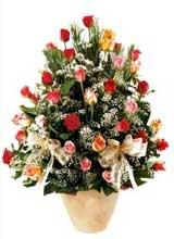 91 adet renkli gül aranjman   İsparta çiçek gönderme sitemiz güvenlidir