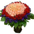 71 adet renkli gül buketi   İsparta ucuz çiçek gönder