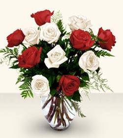 İsparta uluslararası çiçek gönderme  6 adet kirmizi 6 adet beyaz gül cam içerisinde