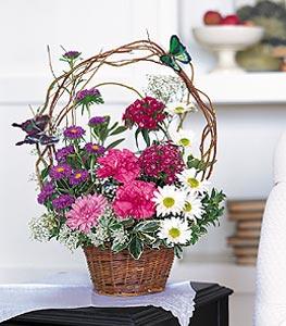 İsparta cicekciler , cicek siparisi  sepet içerisinde karanfil gerbera ve kir çiçekleri