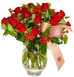 İsparta çiçekçi mağazası  11 adet kirmizi gül  cam aranjman halinde