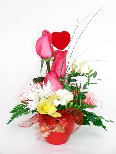 İsparta ucuz çiçek gönder  cam içerisinde 3 adet gül ve kir çiçekleri
