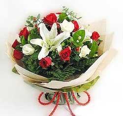 güller ve kazablanklardan görsel bir buket  İsparta internetten çiçek satışı