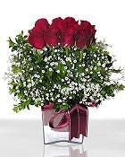 İsparta çiçek , çiçekçi , çiçekçilik  11 adet gül mika yada cam - anneler günü seçimi -