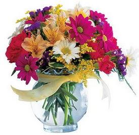 İsparta internetten çiçek satışı  cam yada mika içerisinde karisik mevsim çiçekleri