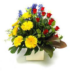 İsparta online çiçek gönderme sipariş  9 adet gül ve kir çiçekleri cam yada mika vazoda