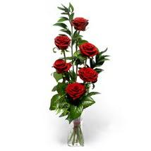 İsparta çiçek siparişi sitesi  cam yada mika vazo içerisinde 6 adet kirmizi gül