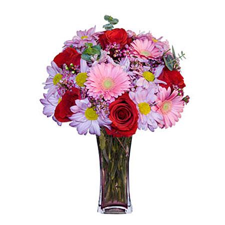 Görsel hediye karisik cam mevsim demeti  İsparta çiçekçi mağazası