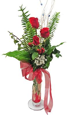 Çiçek gönderin cam vazoda 3 gül çiçekleri  İsparta çiçek siparişi sitesi