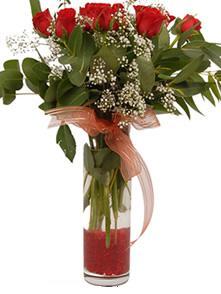 İsparta uluslararası çiçek gönderme  11 adet kirmizi gül vazo çiçegi