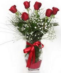 7 adet gülden cam içerisinde güller  İsparta 14 şubat sevgililer günü çiçek