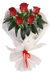 5 adet kirmizi gül buketi  İsparta çiçekçiler