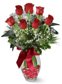 7 adet vazoda gül  İsparta internetten çiçek satışı  kirmizi gül