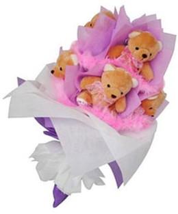 9 adet ayiciktan buket  İsparta hediye sevgilime hediye çiçek