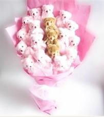 17 adet pelus ayicik buketi  İsparta İnternetten çiçek siparişi