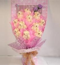 11 adet pelus ayicik buketi  İsparta çiçek yolla