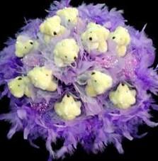 11 adet pelus ayicik buketi  İsparta çiçek , çiçekçi , çiçekçilik