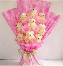 9 adet pelus ayicik buketi  İsparta anneler günü çiçek yolla