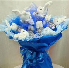 7 adet pelus ayicik buketi  İsparta çiçek , çiçekçi , çiçekçilik