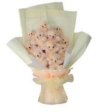 11 adet pelus ayicik buketi  İsparta ucuz çiçek gönder