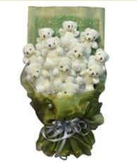 11 adet pelus ayicik buketi  İsparta online çiçek gönderme sipariş