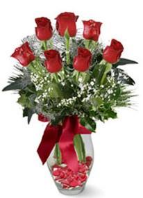 İsparta internetten çiçek siparişi  7 adet kirmizi gül cam vazo yada mika vazoda