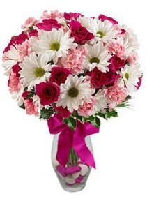 İsparta çiçek siparişi sitesi  Karisik mevsim kir çiçegi vazosu