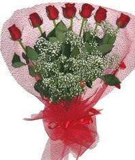 7 adet kipkirmizi gülden görsel buket  İsparta çiçek mağazası , çiçekçi adresleri