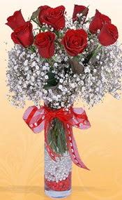9 adet kirmizi gül cam yada mika vazoda  İsparta çiçek mağazası , çiçekçi adresleri