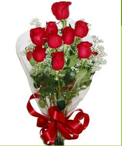 İsparta uluslararası çiçek gönderme  10 adet kırmızı gülden görsel buket