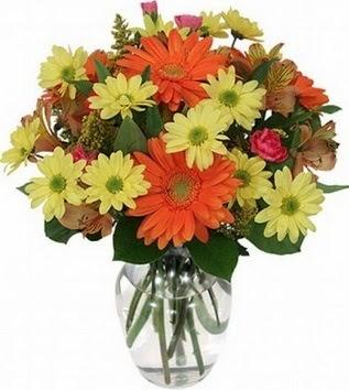 İsparta hediye sevgilime hediye çiçek  vazo içerisinde karışık mevsim çiçekleri