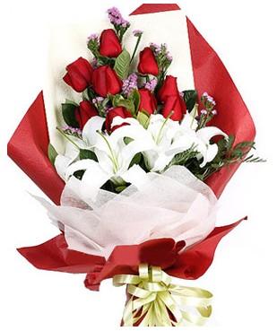 İsparta çiçekçiler  1 dal kazablankaa 9 adet kırmızı gül buketi