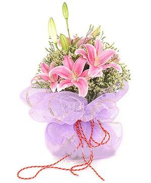 3 dal kazablanka görsel buketi  İsparta internetten çiçek satışı