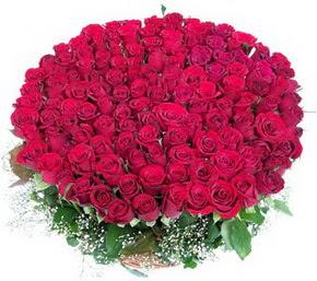 İsparta online çiçekçi , çiçek siparişi  100 adet kırmızı gülden görsel buket