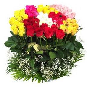 İsparta çiçek mağazası , çiçekçi adresleri  51 adet renkli güllerden aranjman tanzimi