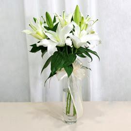 İsparta anneler günü çiçek yolla  2 dal kazablanka ile yapılmış vazo çiçeği