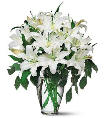 İsparta internetten çiçek satışı  4 dal kazablanka ile görsel vazo tanzimi