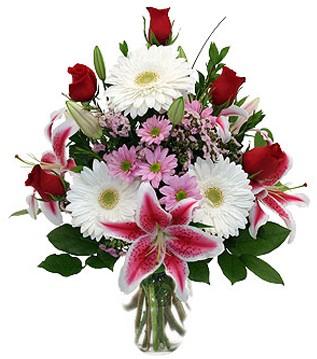 İsparta çiçek mağazası , çiçekçi adresleri  1 dal kazablanka 5 gül ve kırçiçeği vazosu