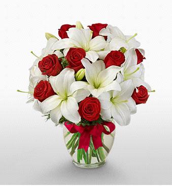 İsparta hediye çiçek yolla  1 dal kazablanka 11 adet kırmızı gül vazosu