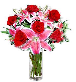 İsparta çiçek yolla  1 dal cazablanca ve 6 kırmızı gül çiçeği